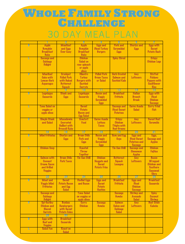 WFS Challenge | 30 Day Meal Plan - Whole Family Strong