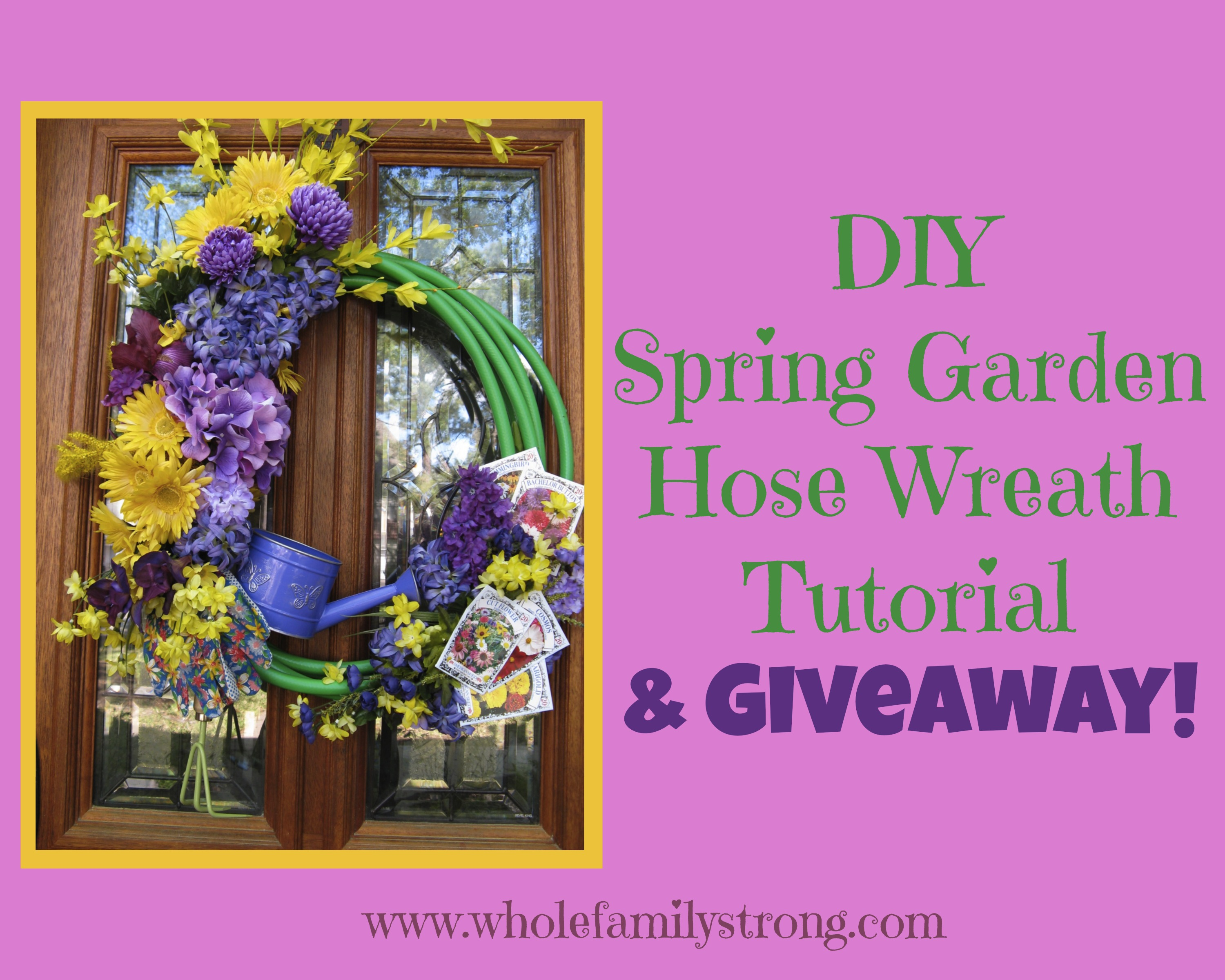 DIY Spring Garden Hose Wreath Tutorial {and Giveaway!}